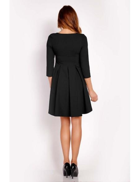 Trapezowa sukienka z rękawem 3/4 - czarna