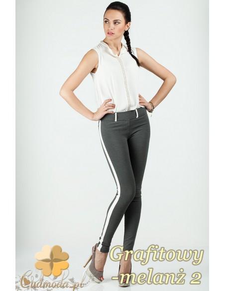 Włoskie legginsy ze skórzaną wstawką na nogawce - grafitowy melanż 2