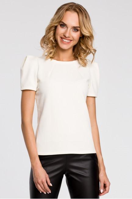 Bluzka damska z bufkami i krótkim rękawem - ecru