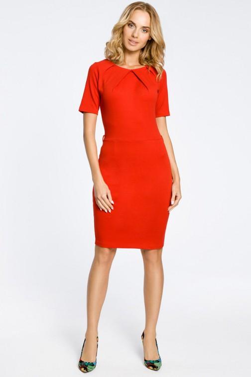CM0219 Klasyczna elegancka sukienka ołówkowa - czerwona