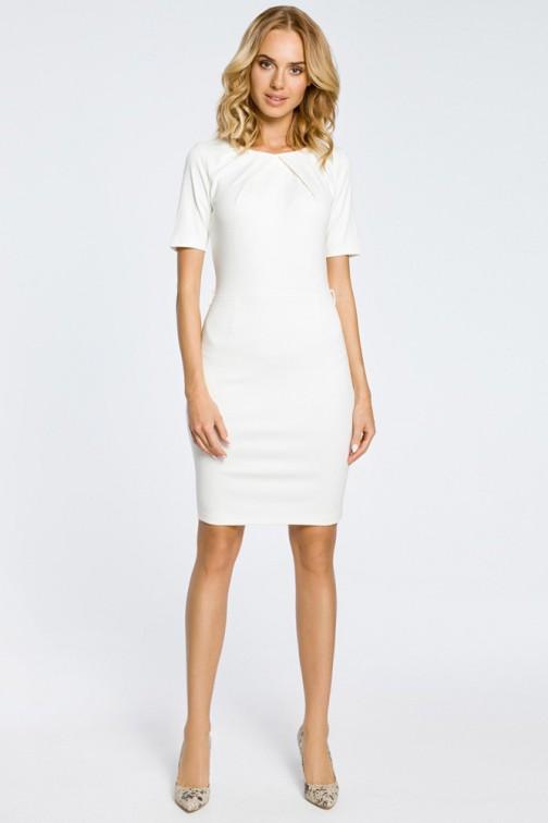 Klasyczna elegancka sukienka ołówkowa - ecru