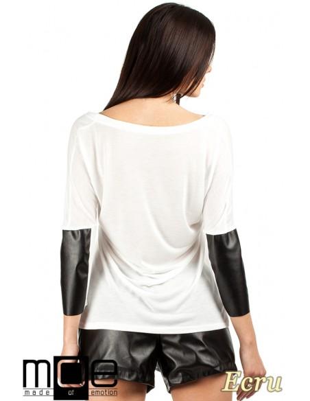 Zwiewna bluzka damska z rękawem 3/4 ze skórzanymi wstawkami - ecru