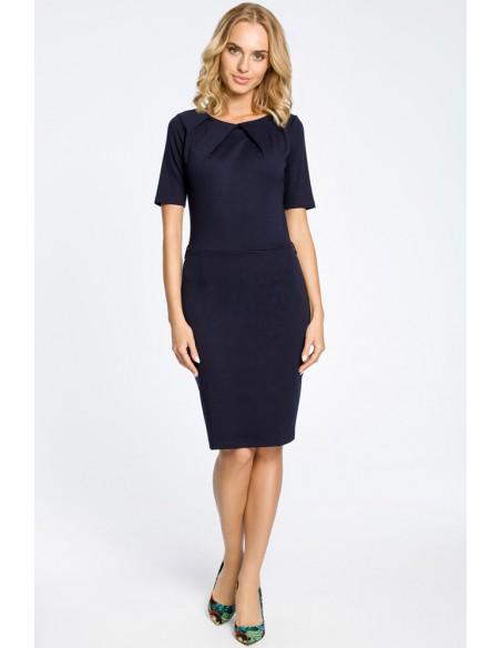 Klasyczna elegancka sukienka ołówkowa - granatowa