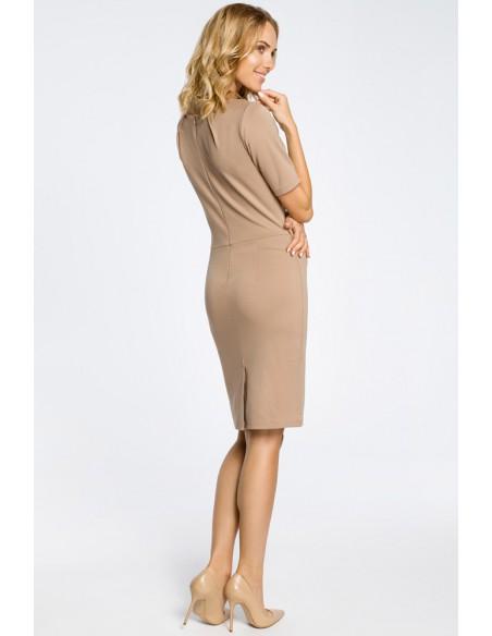 Klasyczna elegancka sukienka ołówkowa - cappuccino
