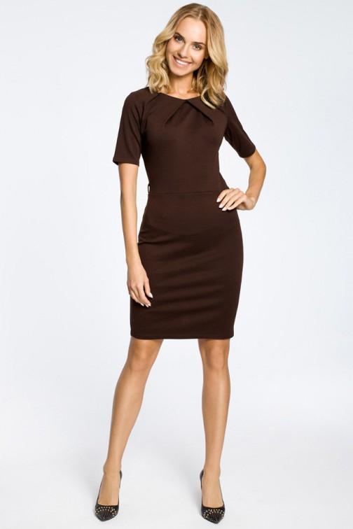 CM0219 Klasyczna elegancka sukienka ołówkowa - brązowa