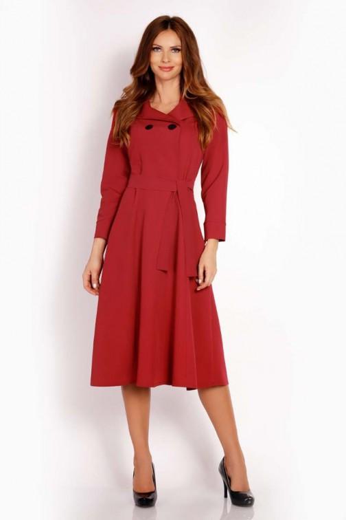 CM3294 Nowoczesna sukienka midi - bordowa