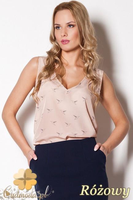 FIGL M253 Zwiewna bluzka damska bez rękawów - różowa