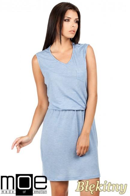 Letnia zwiewna sukienka bez rękawów - błękitna
