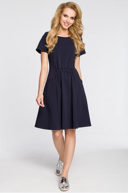 Stylowa sukienka z krótkim rękawem - granatowa