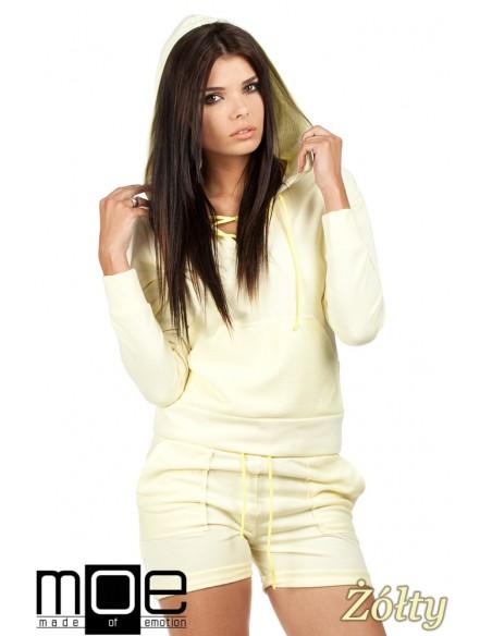 Bluza damska z kapturem w sportowym stylu - żółta