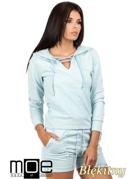 Bluza damska z kapturem w sportowym stylu - błękitna