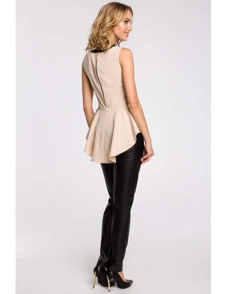 Elegancka bluzka damska z tiulową wstawką i asymetrycznym tyłem - beżowa