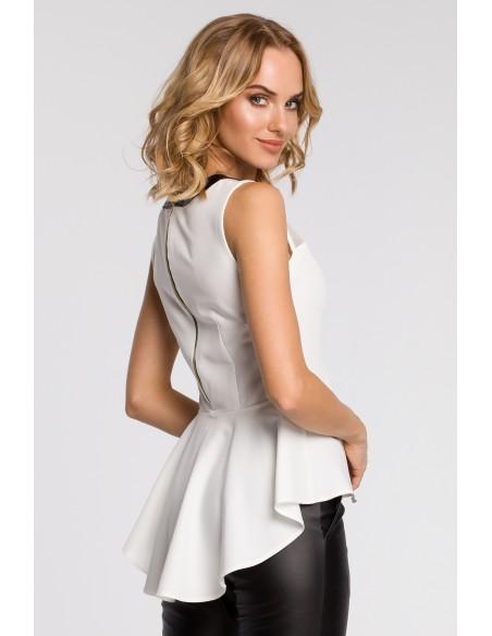 Elegancka bluzka damska z tiulową wstawką i asymetrycznym tyłem - ecru