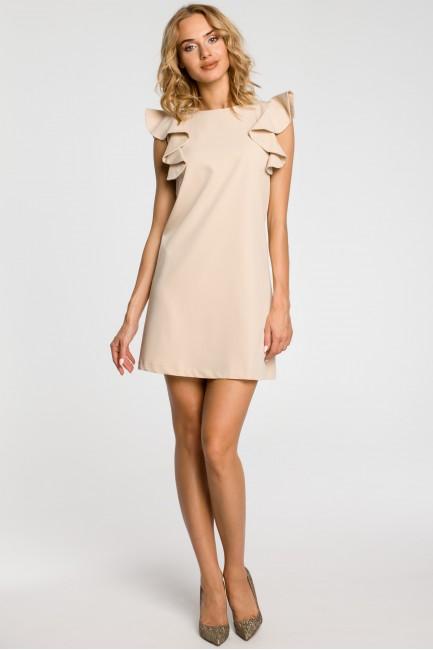 Sukienka mini z falbanami przy ramionach - beżowa