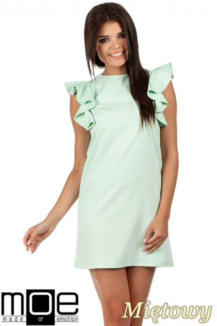 Sukienka mini z falbanami przy ramionach - miętowa