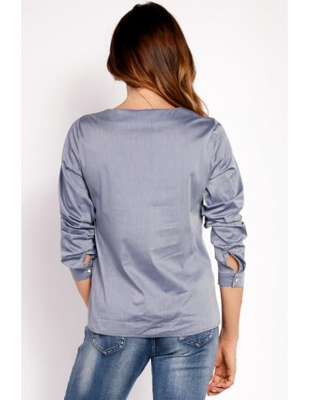 Biurowa bluzka koszulowa - szara