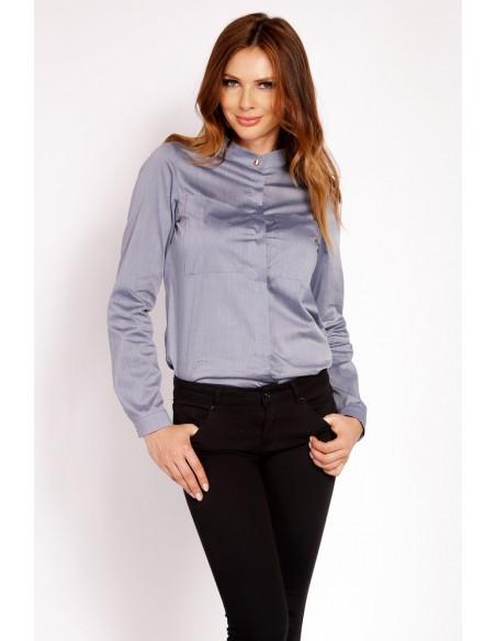 Elegancka koszula ze stójką - szara
