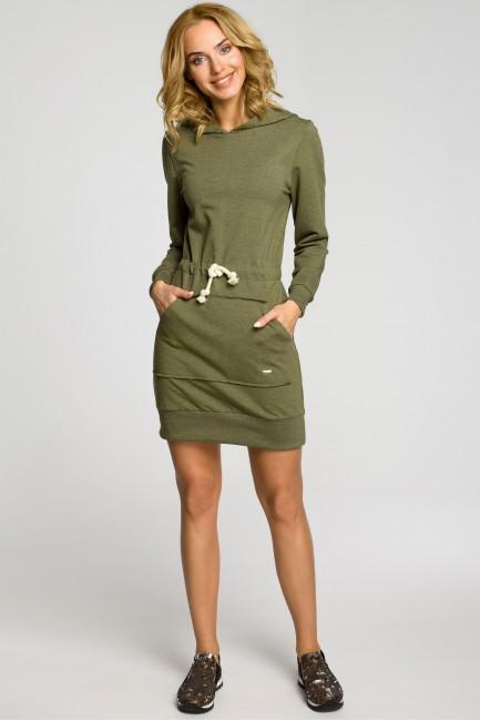 Dresowa sukienka kangurka z kapturem - khaki