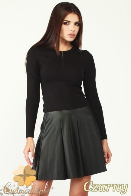 Sukienka kontrafałda ze skórzanym dołem - czarna