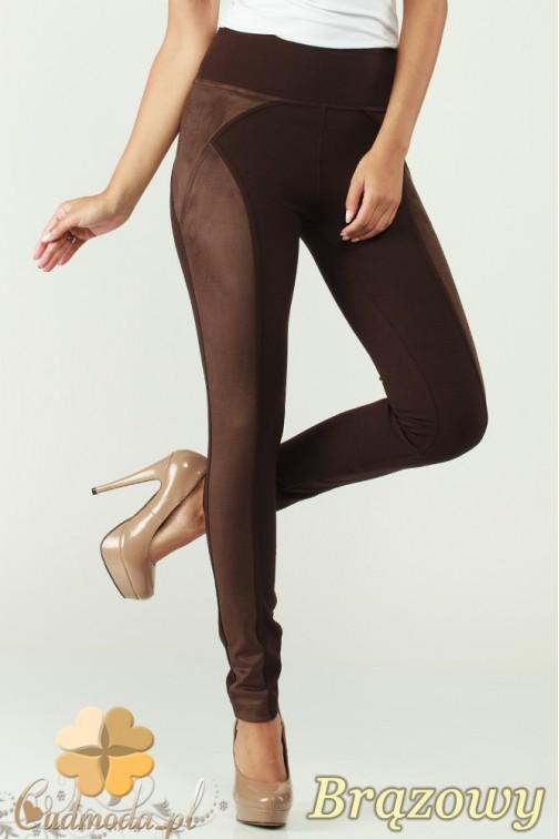 CM0305 Legginsy spodnie damskie z zamszem - brązowe