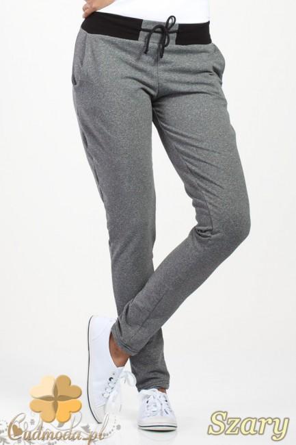 Dresowe spodnie z czarnym pasem i wiązaniem - szare OUTLET