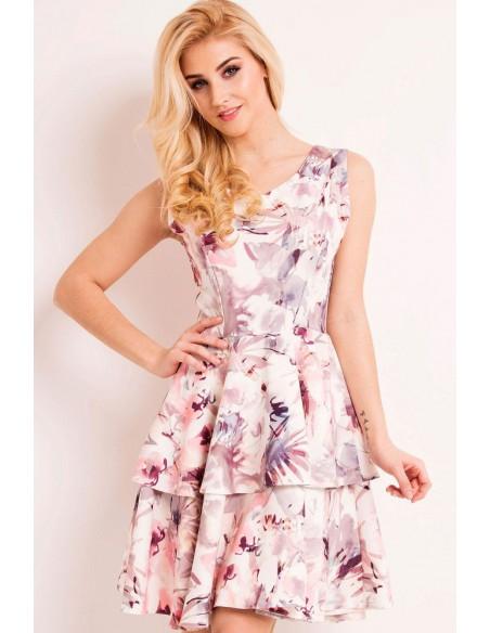 Rozkloszowana sukienka w kwiaty z podwójną falbanką