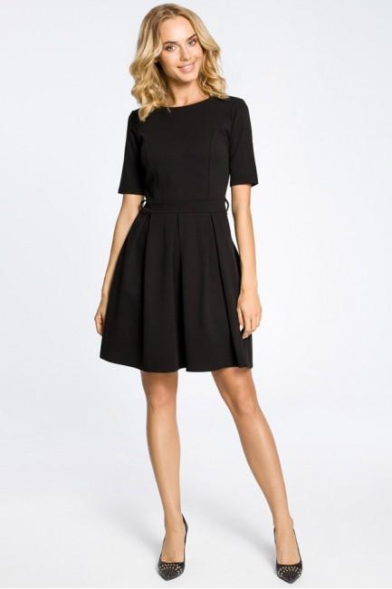 Rozkloszowana sukienka kontrafałda z dzianiny - czarna
