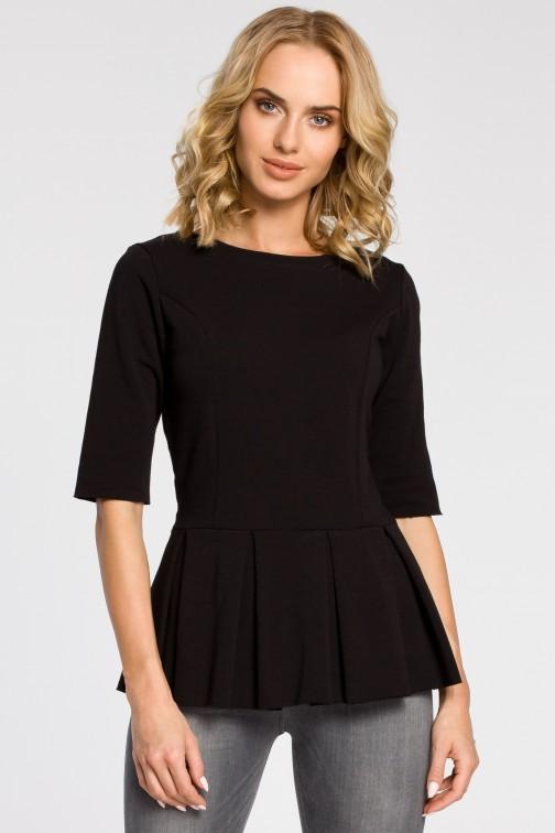 Dopasowana bluzka damska z plisowaną baskinką - czarna