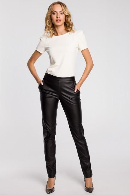 Eleganckie spodnie damskie rurki z eko-skóry - czarne