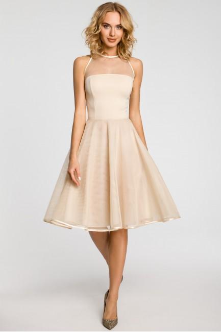 Wieczorowa sukienka z dopasowaną górą - beżowa