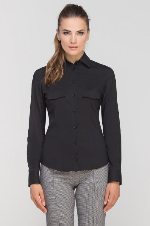 CM3348 Damska koszula z długim rękawem - czarna