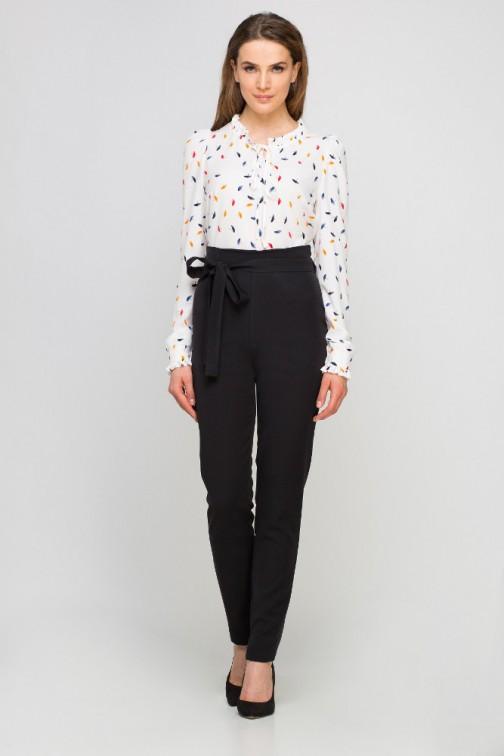 CM3352 Eleganckie spodnie z szarfą - czarne