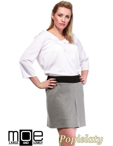 Modna spódnica damska z kontrafałdą - popielata