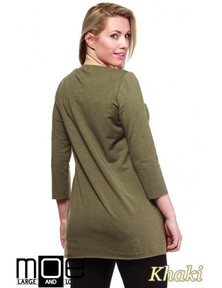 Kobieca tunika ze złotym zamkiem - khaki