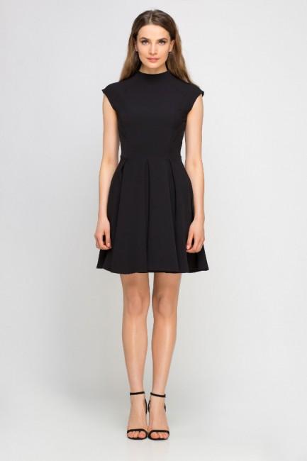 Sukienka z kontrafałdami i stójką - czarna