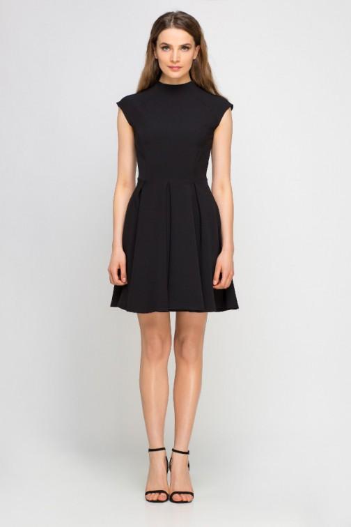 CM3359 Sukienka z kontrafałdami i stójką - czarna