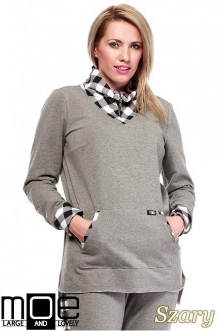 Asymetryczna damska bluza dresowa 44-52 - szara