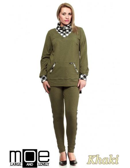 Asymetryczna damska bluza dresowa 44-52 - khaki