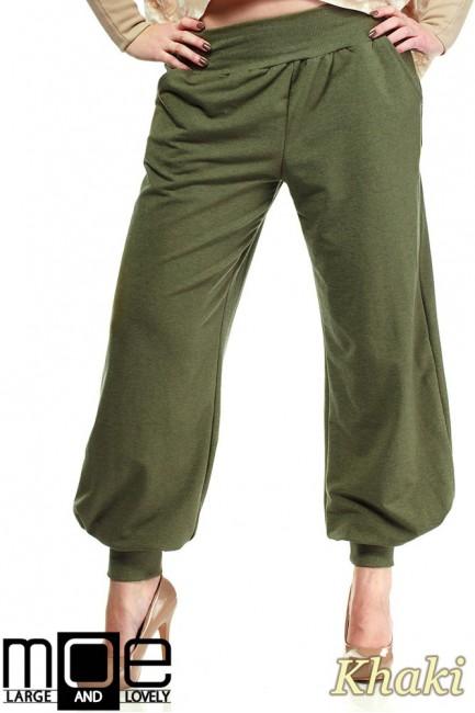 Dresowe spodnie damskie alladyny 44-52 - khaki