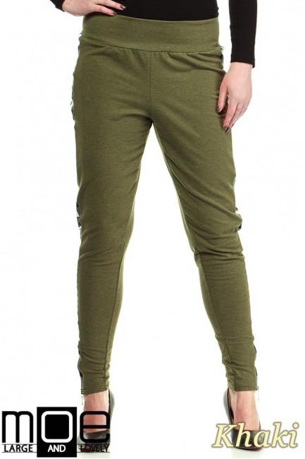 Dresowe spodnie damskie z lampasami w kratę - khaki