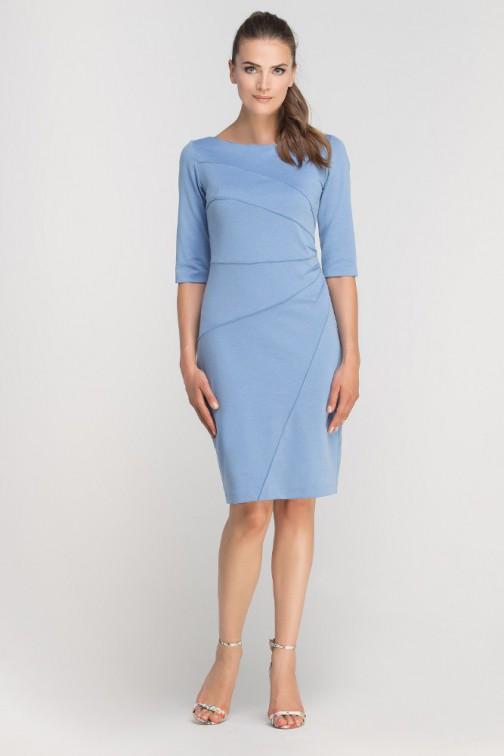 CM3362 Dopasowana sukienka z przeszyciami - błękitna