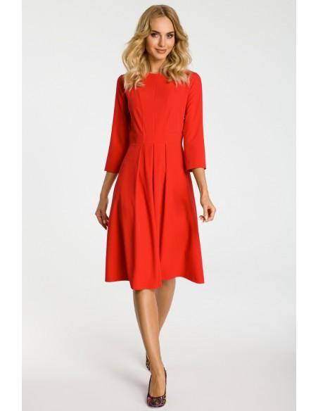 Sukienka z kontrafałdami na przodzie - czerwona