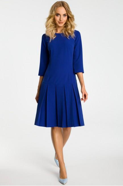 Sukienka z obniżoną talią i kontrafałdami - chabrowa