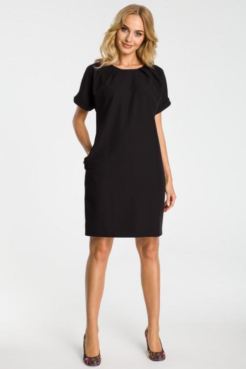 CM3302 Luźna sukienka z kontrafałdami przy szyi - czarna