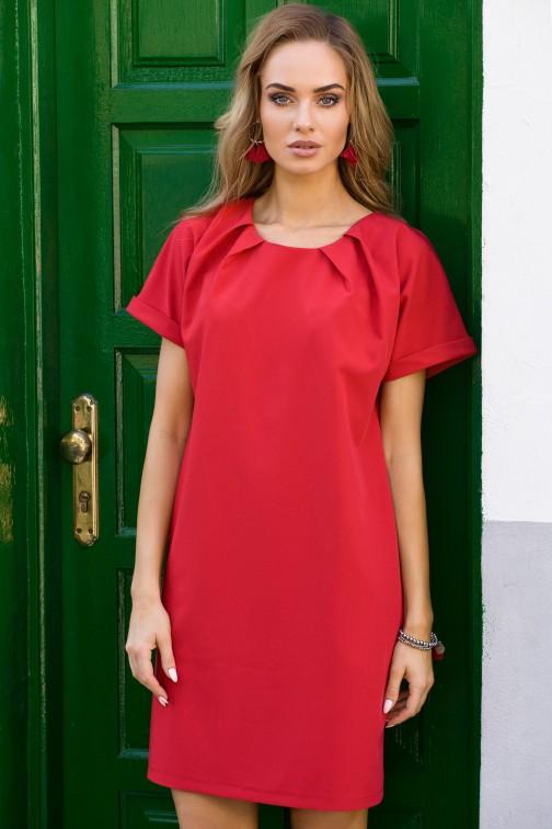 CM3302 Luźna sukienka z kontrafałdami przy szyi - czerwona