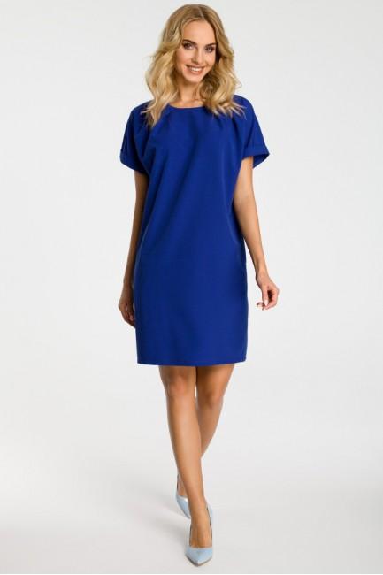 Luźna sukienka z kontrafałdami przy szyi - chabrowa