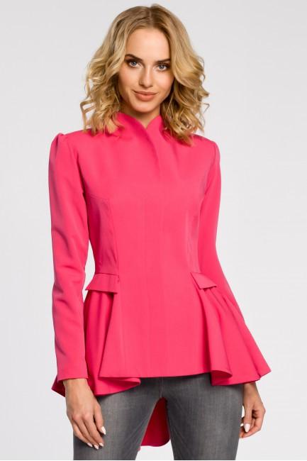 Asymetryczny taliowany żakiet - różowy