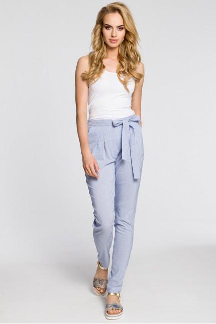 Spodnie chinosy z szarfą w pasie - niebieskie