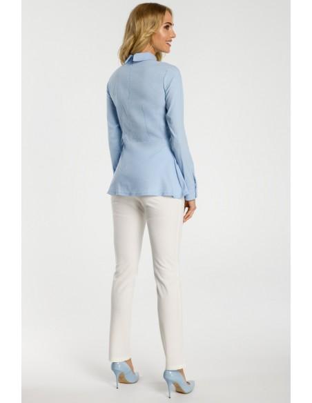 Odcinana w talii koszula damska - błękitna