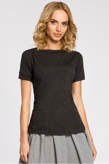 Klasyczna koszulka damska z krótkim rękawem - grafitowa